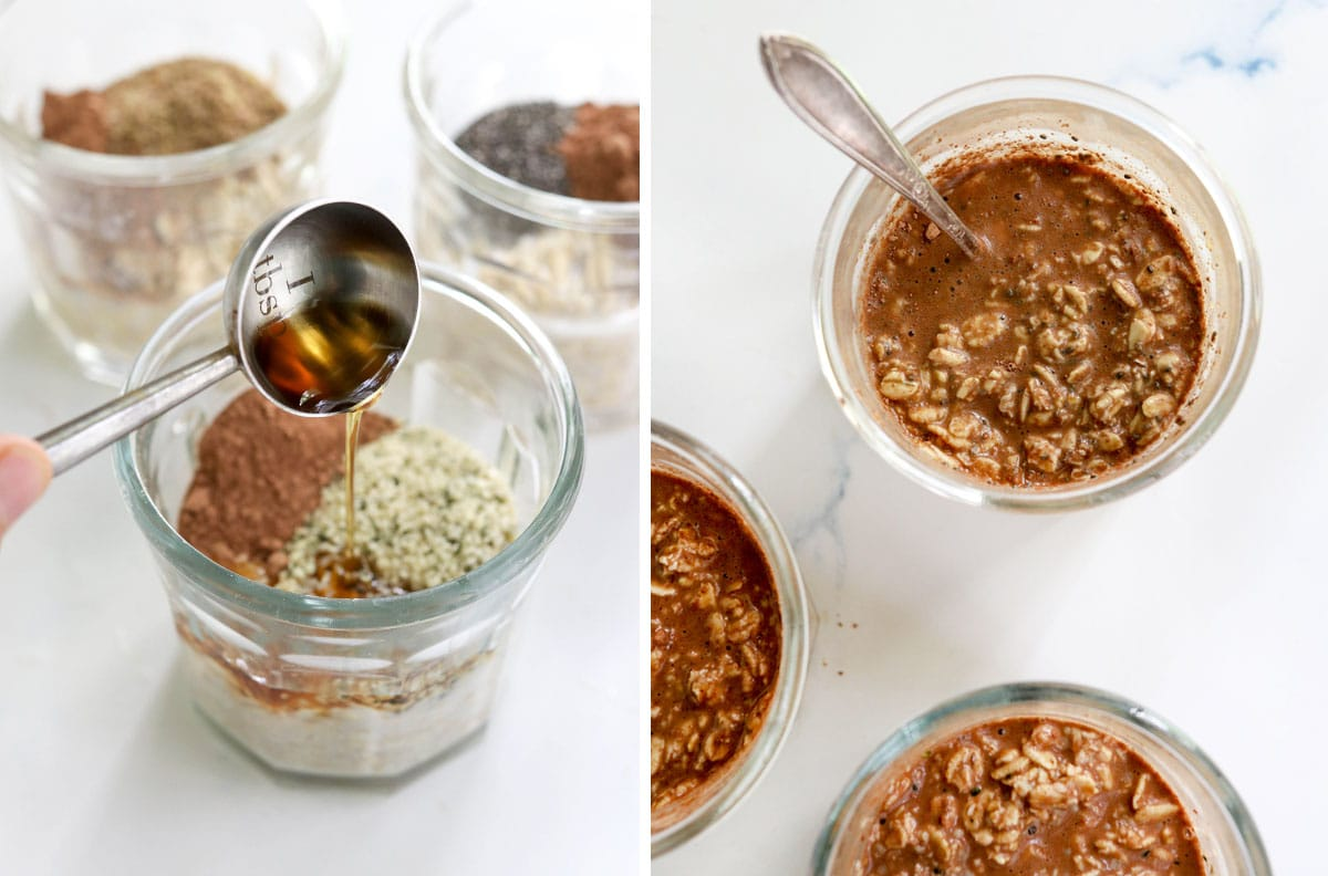 maple syrup added to chocolate overnight oats jar