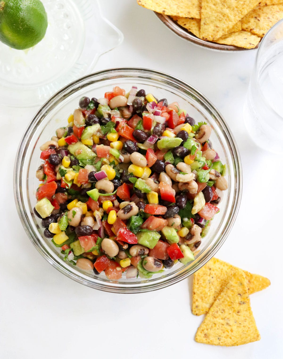 cowboy caviar in bowl with side of chips