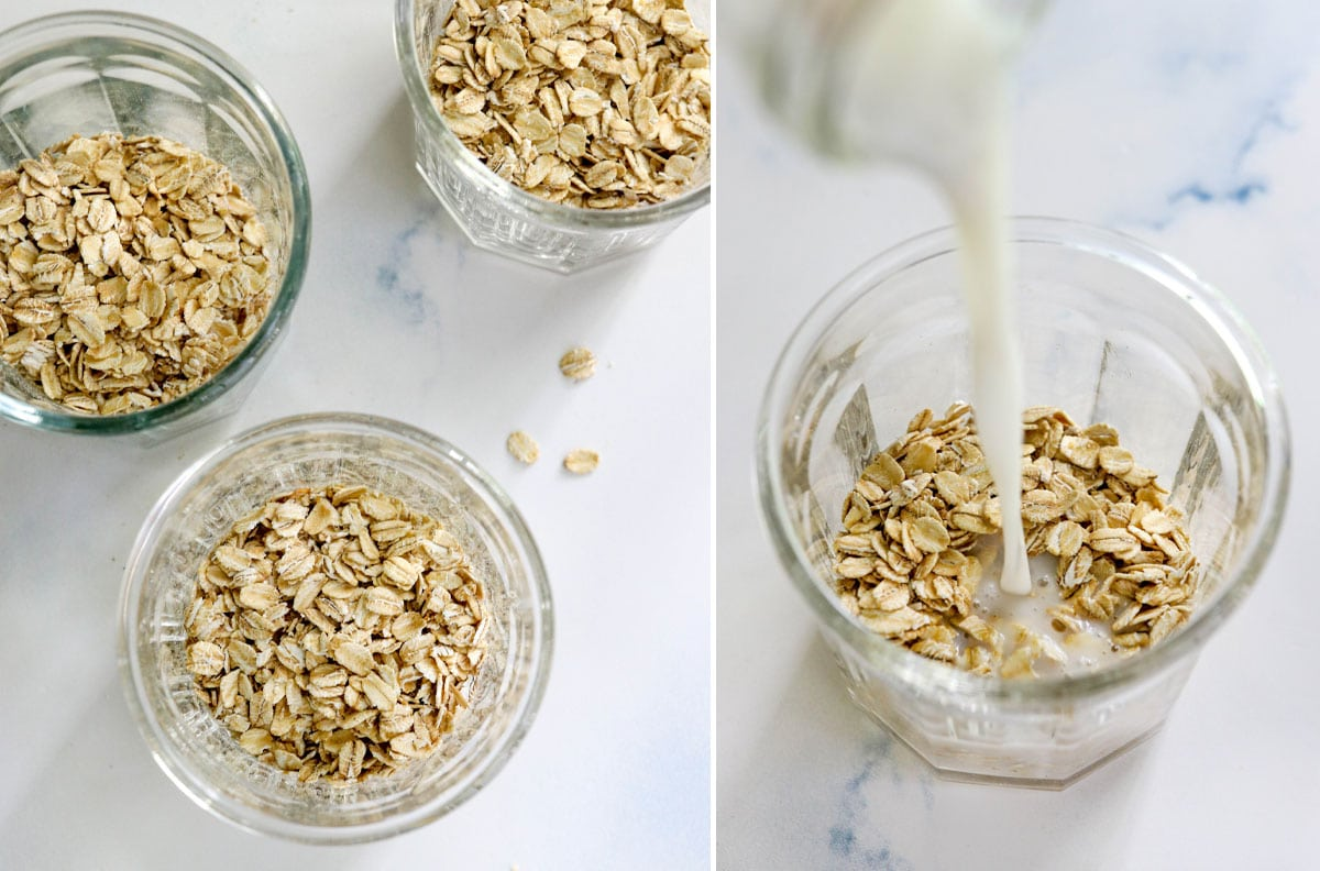 oats getting soaked with almond milk