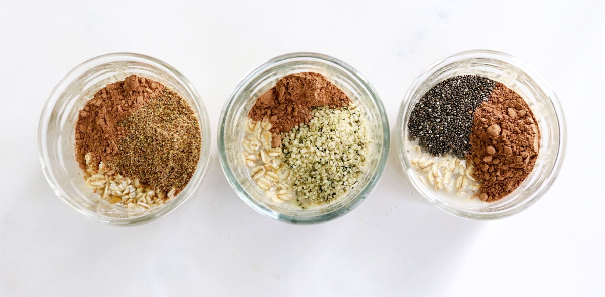 jars of oats with ground flax chia seeds and hemp hearts