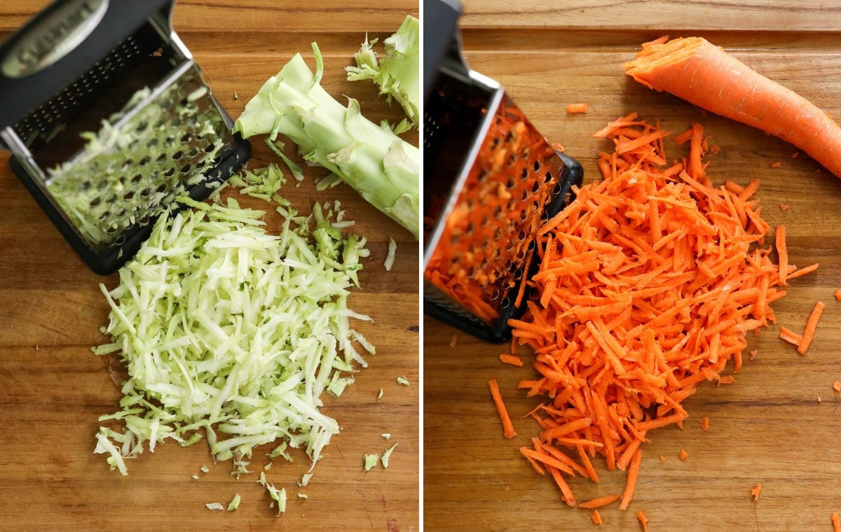 shredded broccoli stems and carrots