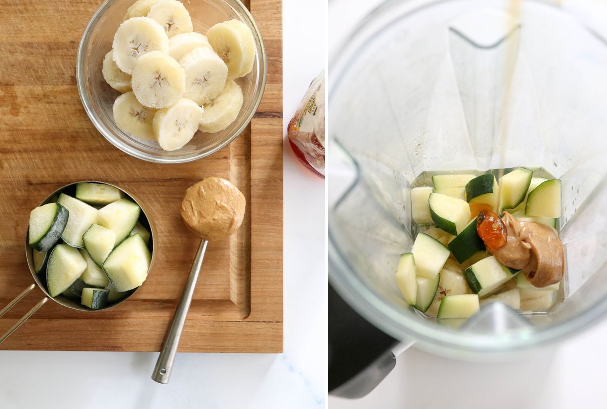 zucchini smoothie ingredients in blender