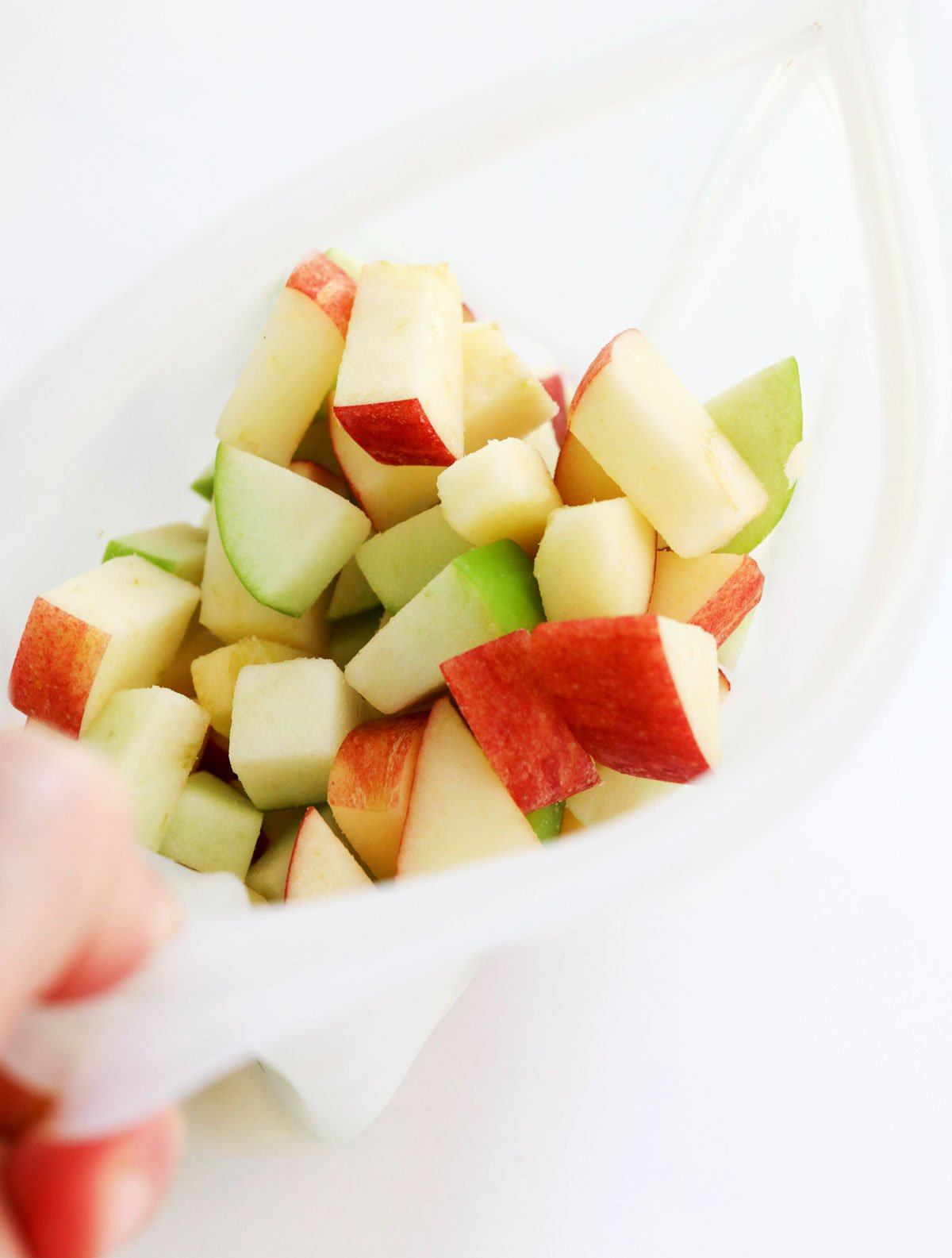 frozen apples in silicone bag