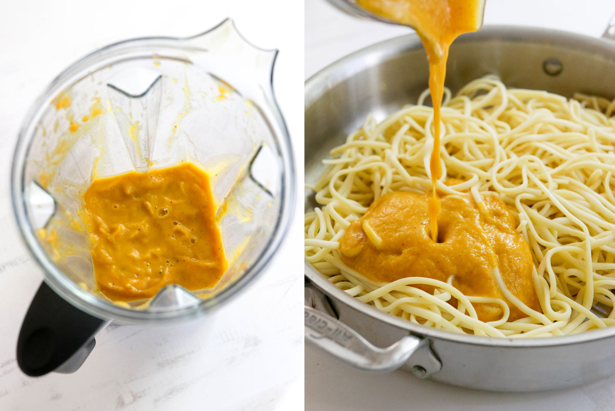 blended sauce poured over pasta