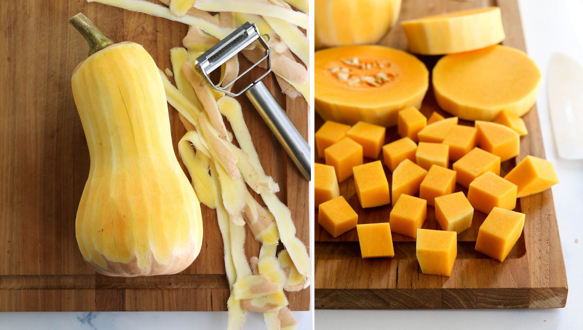 butternut squash peeled and cubed on cutting board