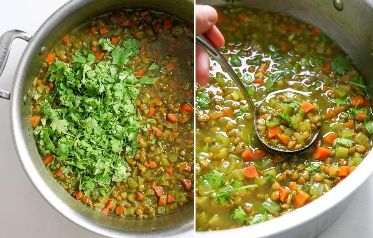 cilantro stirred into the hot soup