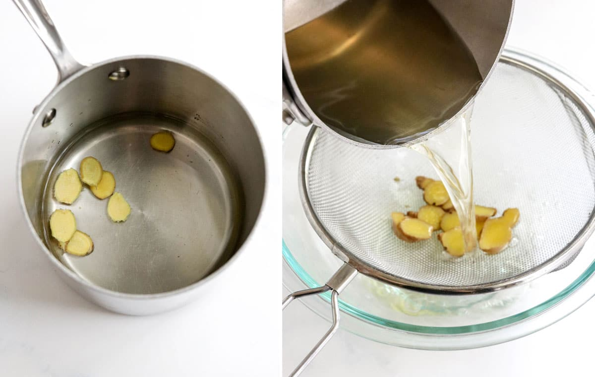 sliced ginger in pot and strained