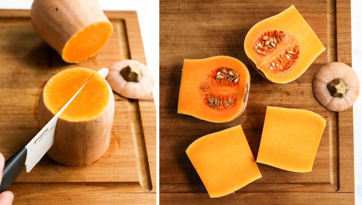 how to cut butternut squash into 4 pieces