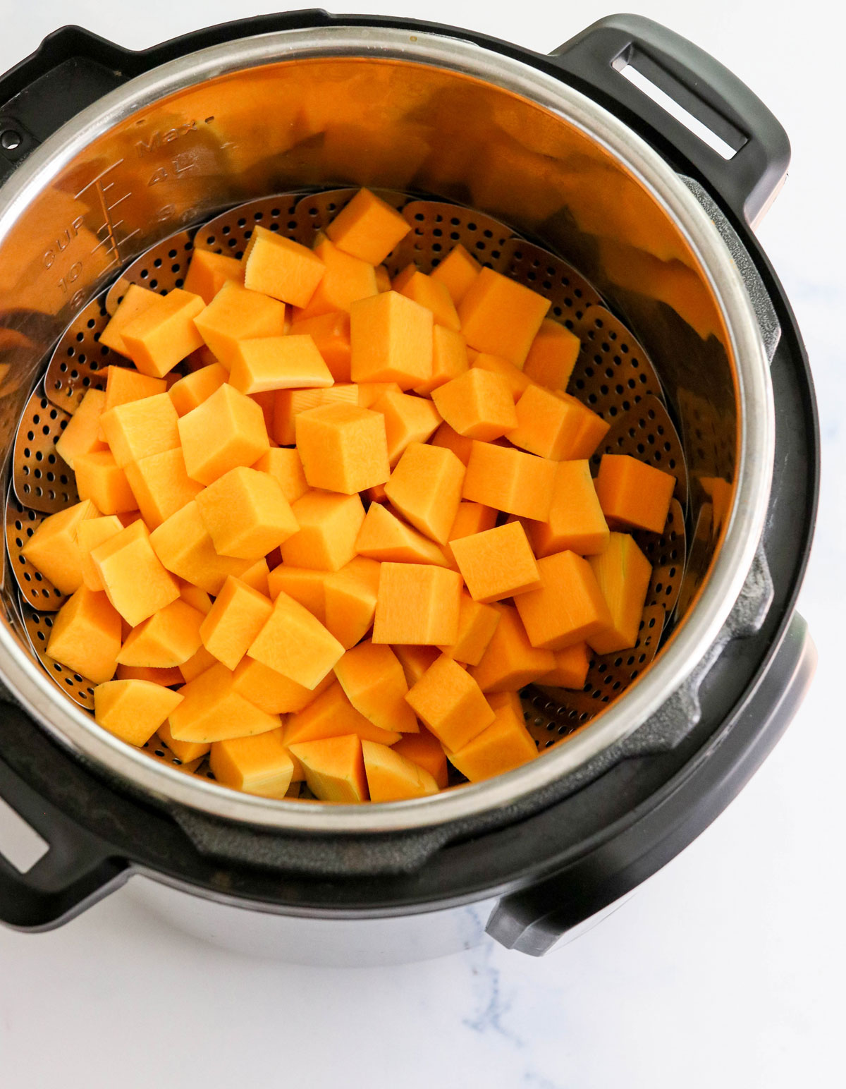 cubed butternut squash in the Instant Pot