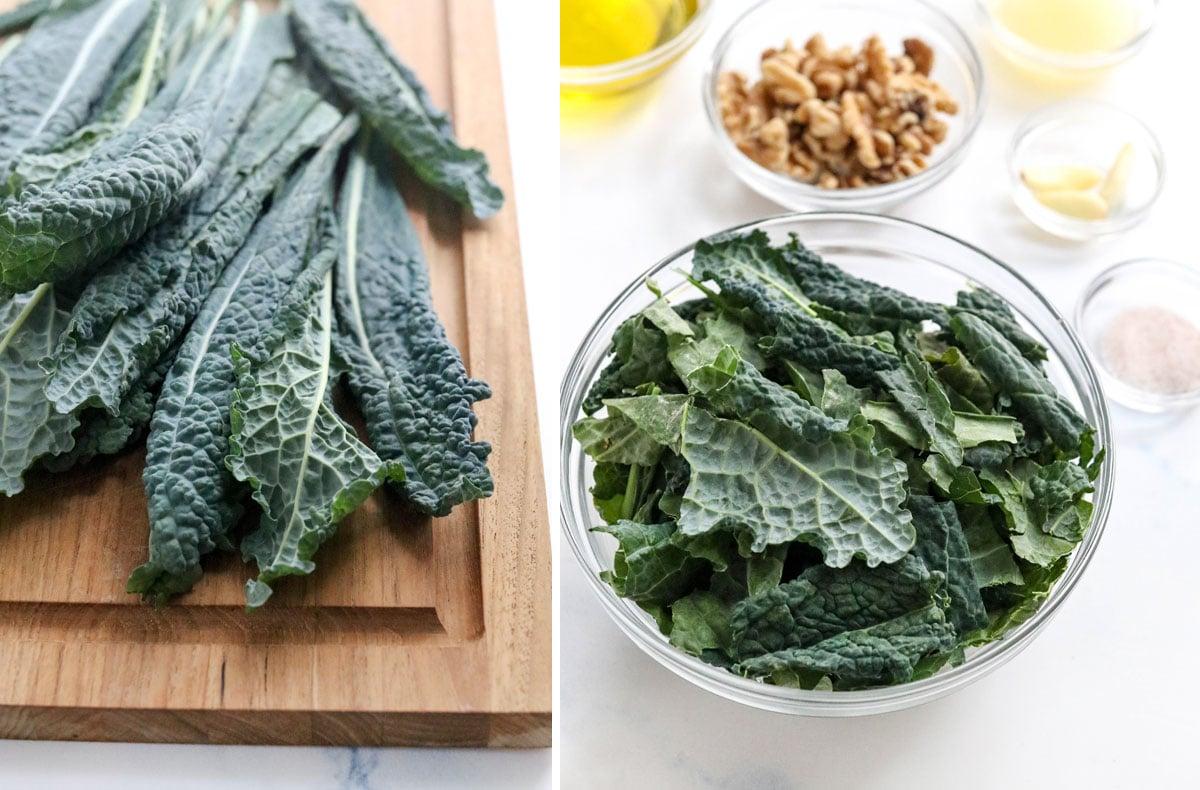 kale pesto ingredients on cutting board