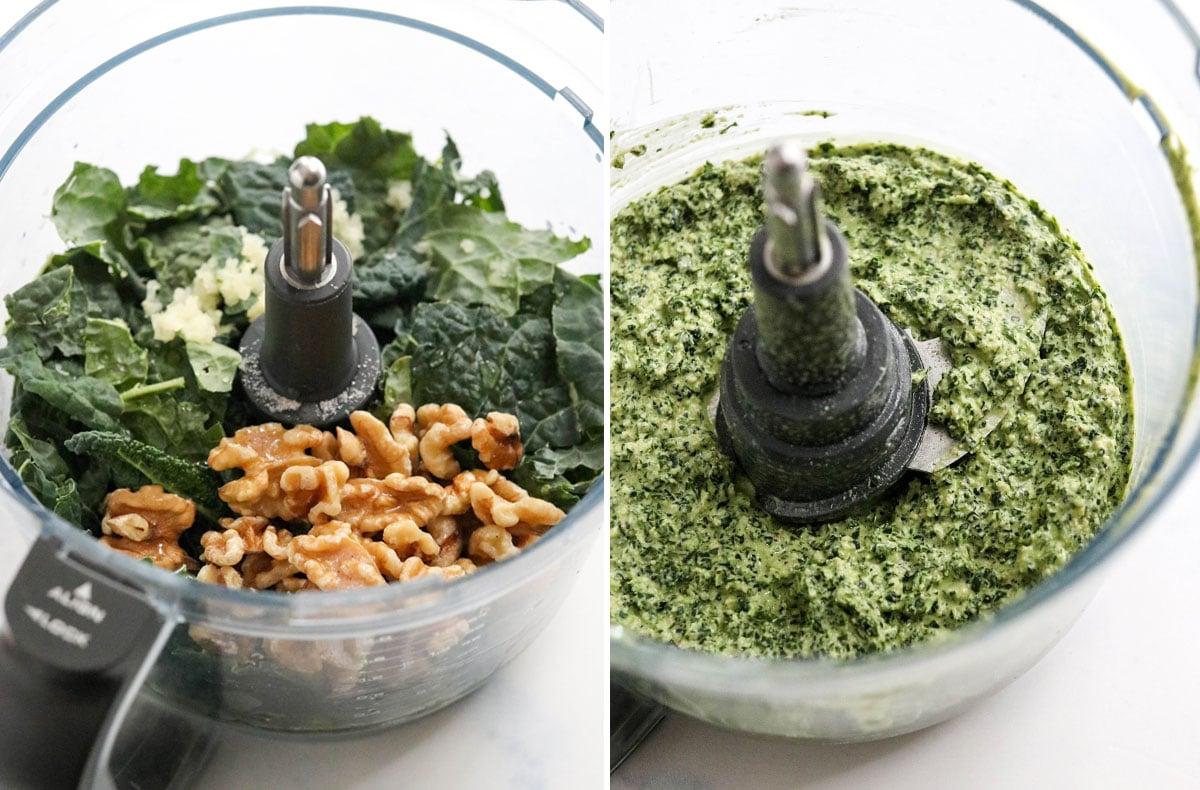 kale pesto pulverized in food processor