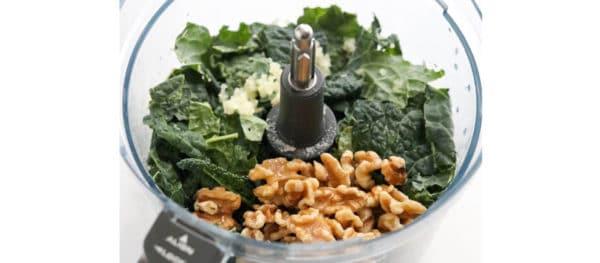 kale pesto ingredients in food processor