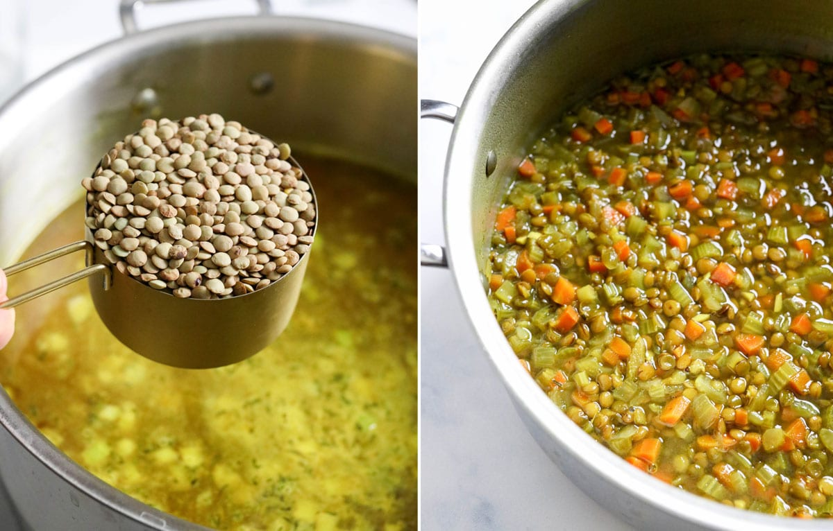 lentils added to soup pot