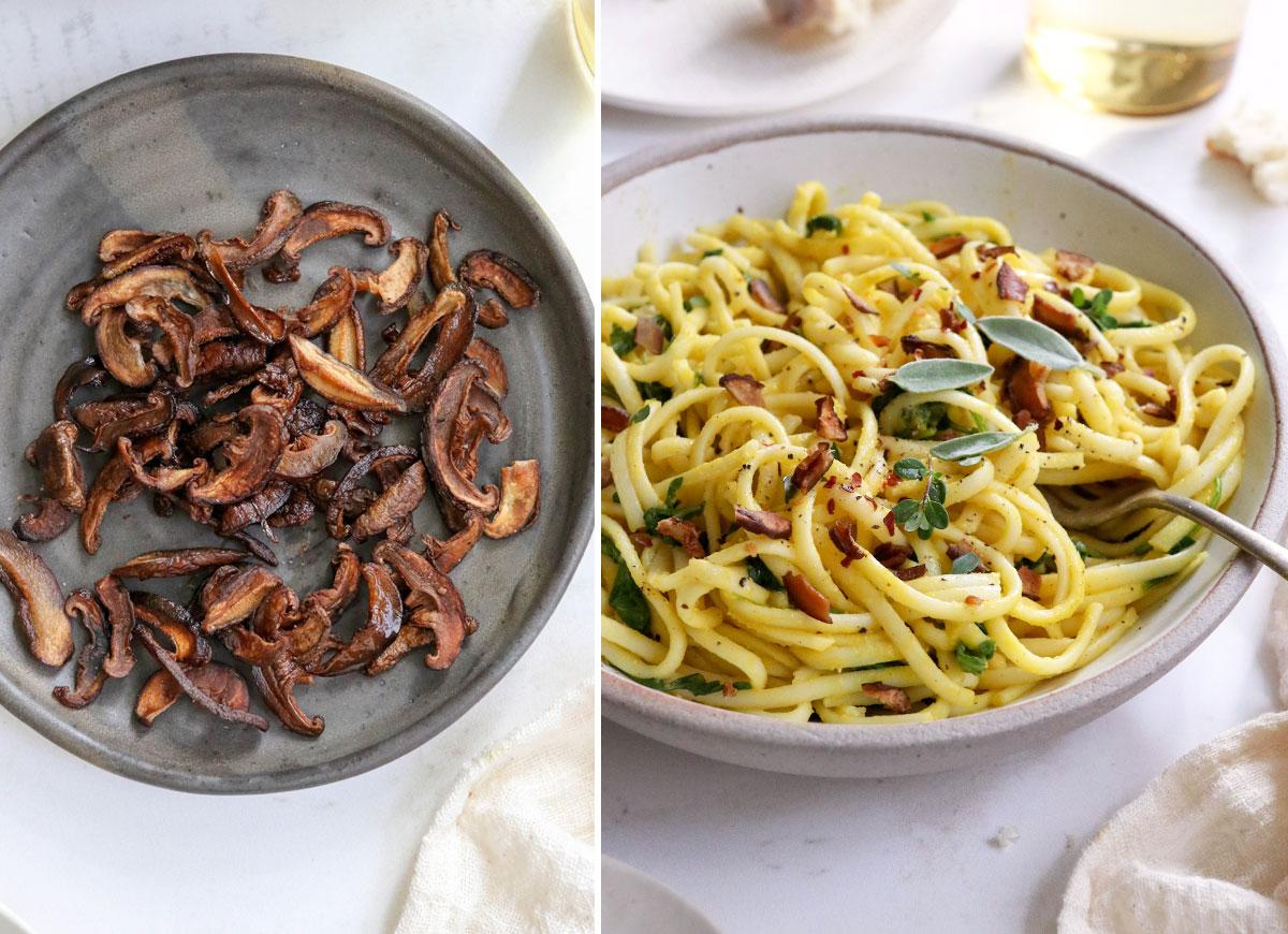 mushroom bacon added to pasta