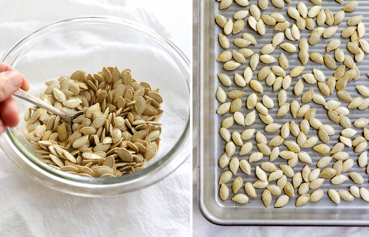 seasoned pumpkin seeds arranged on pan