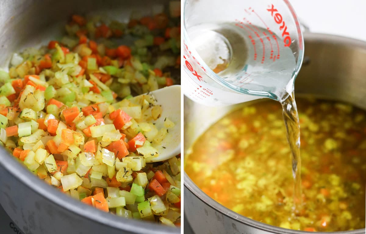 vegetables and water in a soup pot