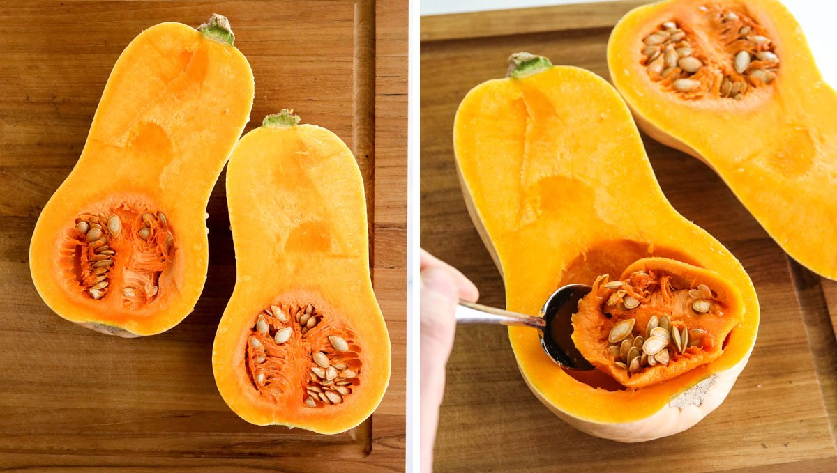 squash cut in half with seeds scooped out