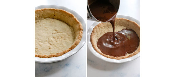 baked almond flour pie crust filled with chocolate