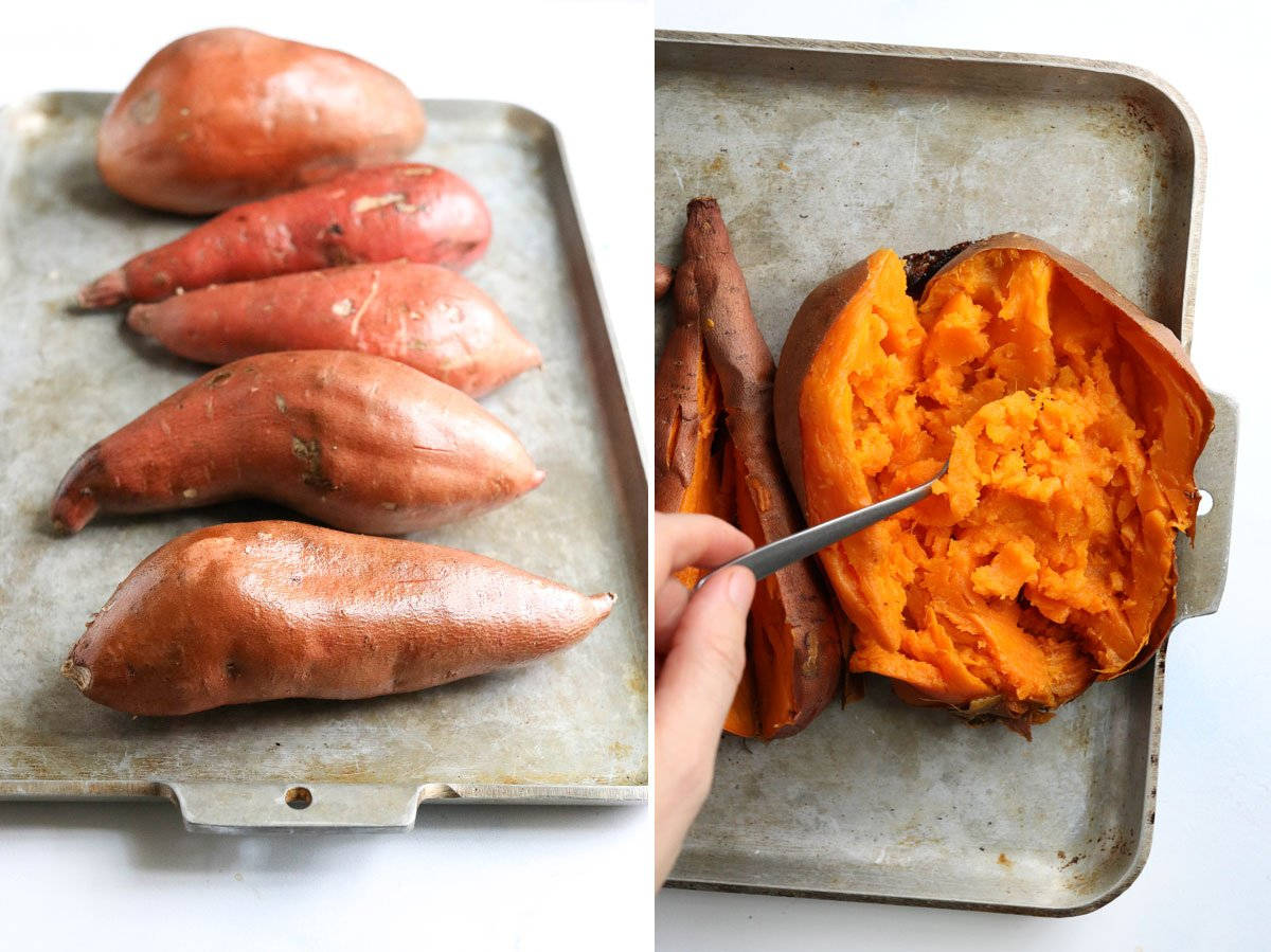 baked sweet potatoes on pan