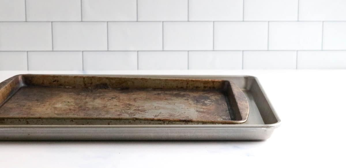 baking sheets on counter