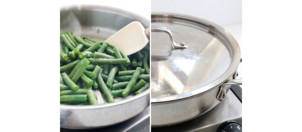 green beans and salt in pan