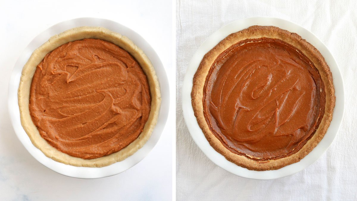 before and after baked sweet potato pie