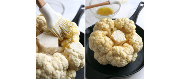 seasoning bottom of cauliflower