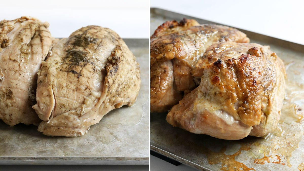 before and after of turkey under broiler