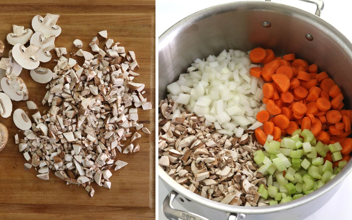 chopped vegetables on board and in pot