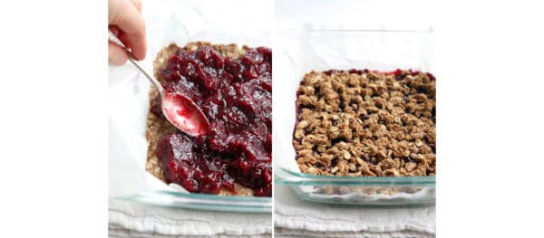 cranberry sauce and crumble topping added