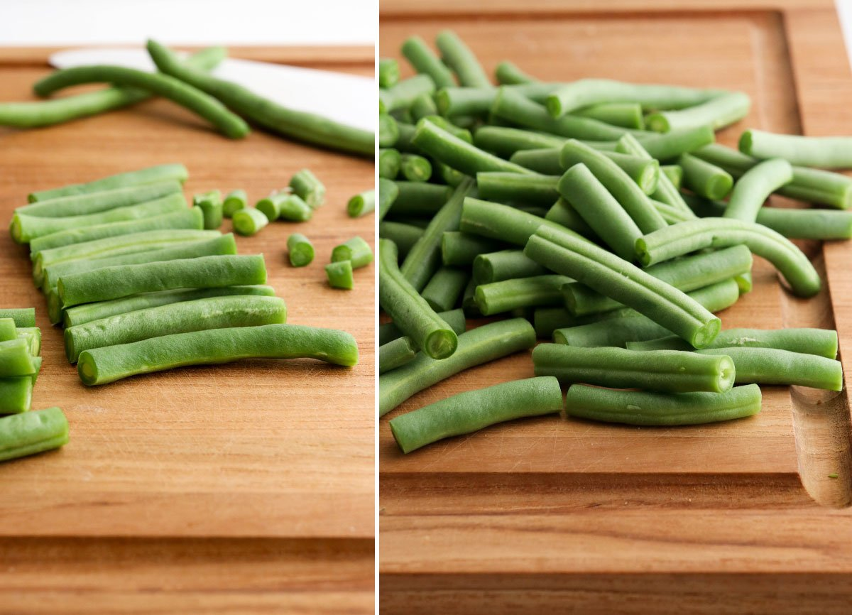 cut green beans on board