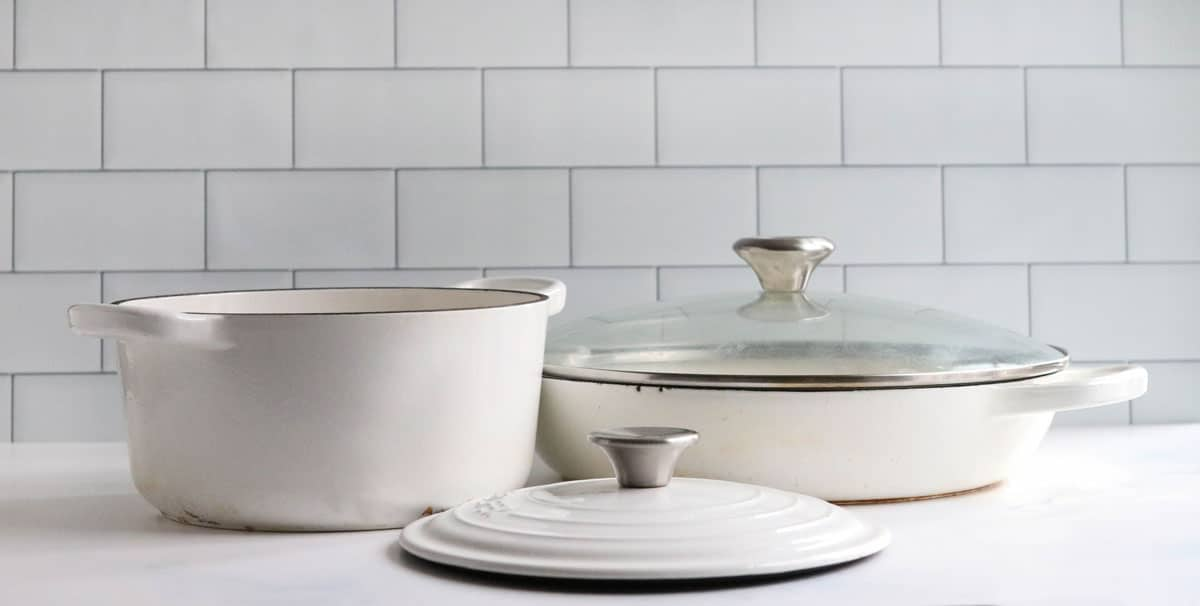 enameled pans on counter