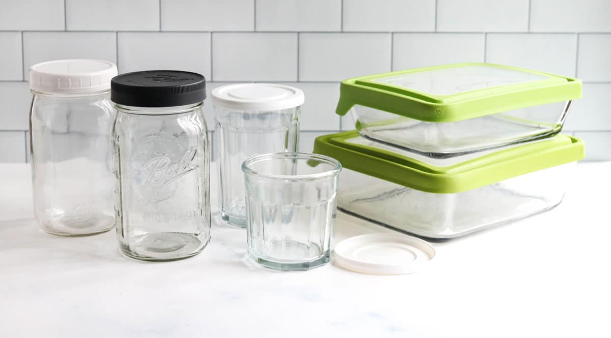 Glass food storage containers on counter