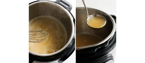 thickened gravy on ladle