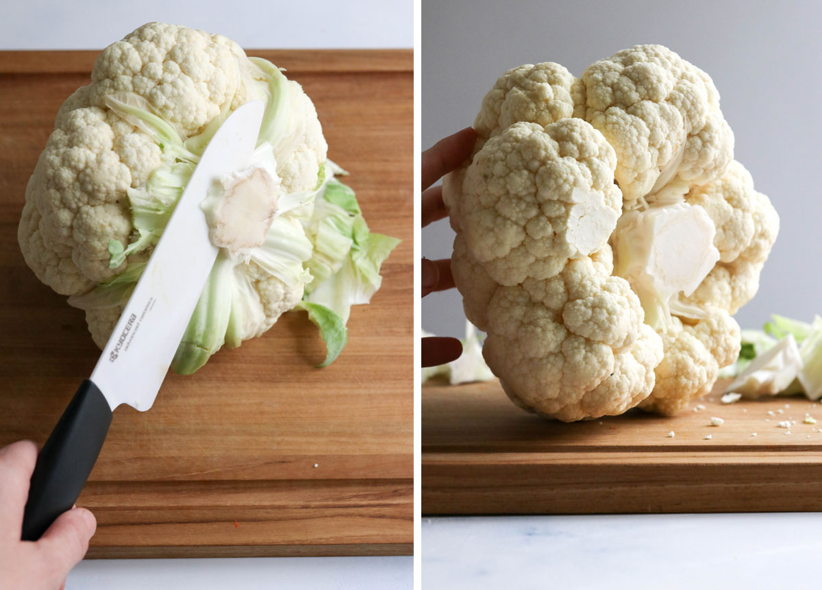 cut stem off bottom of cauliflower