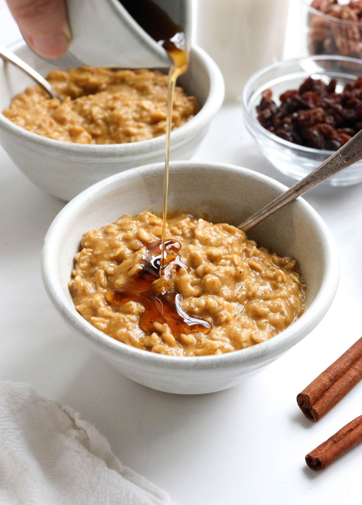 maple syrup added to oatmeal