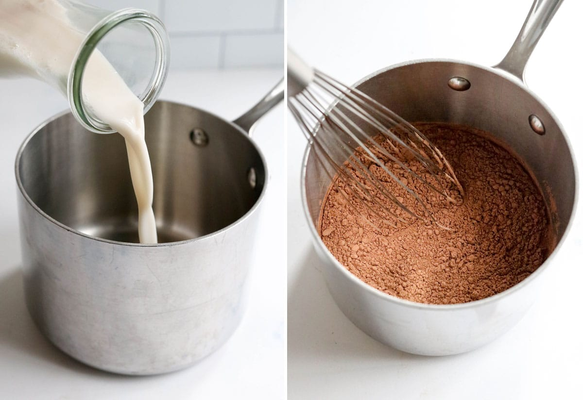 hot chocolate ingredients stirred in pot
