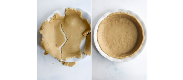 broken and fixed pie crust in pan