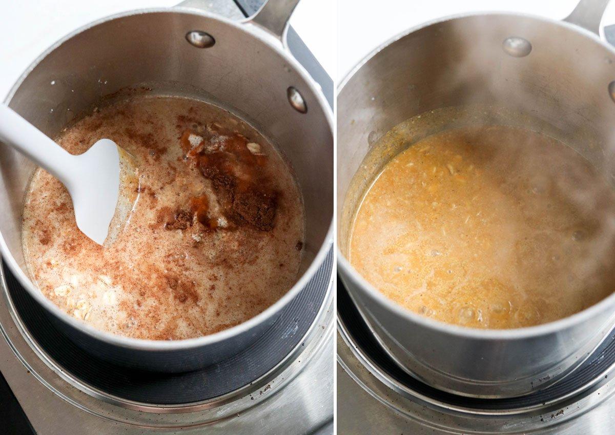 cooking pumpkin oatmeal in pot