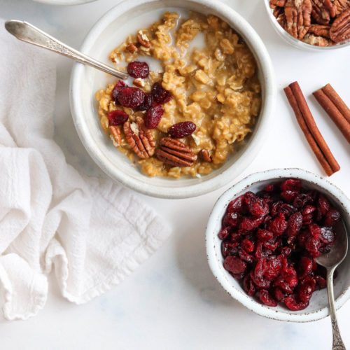 pumpkin oatmeal with pecans on top