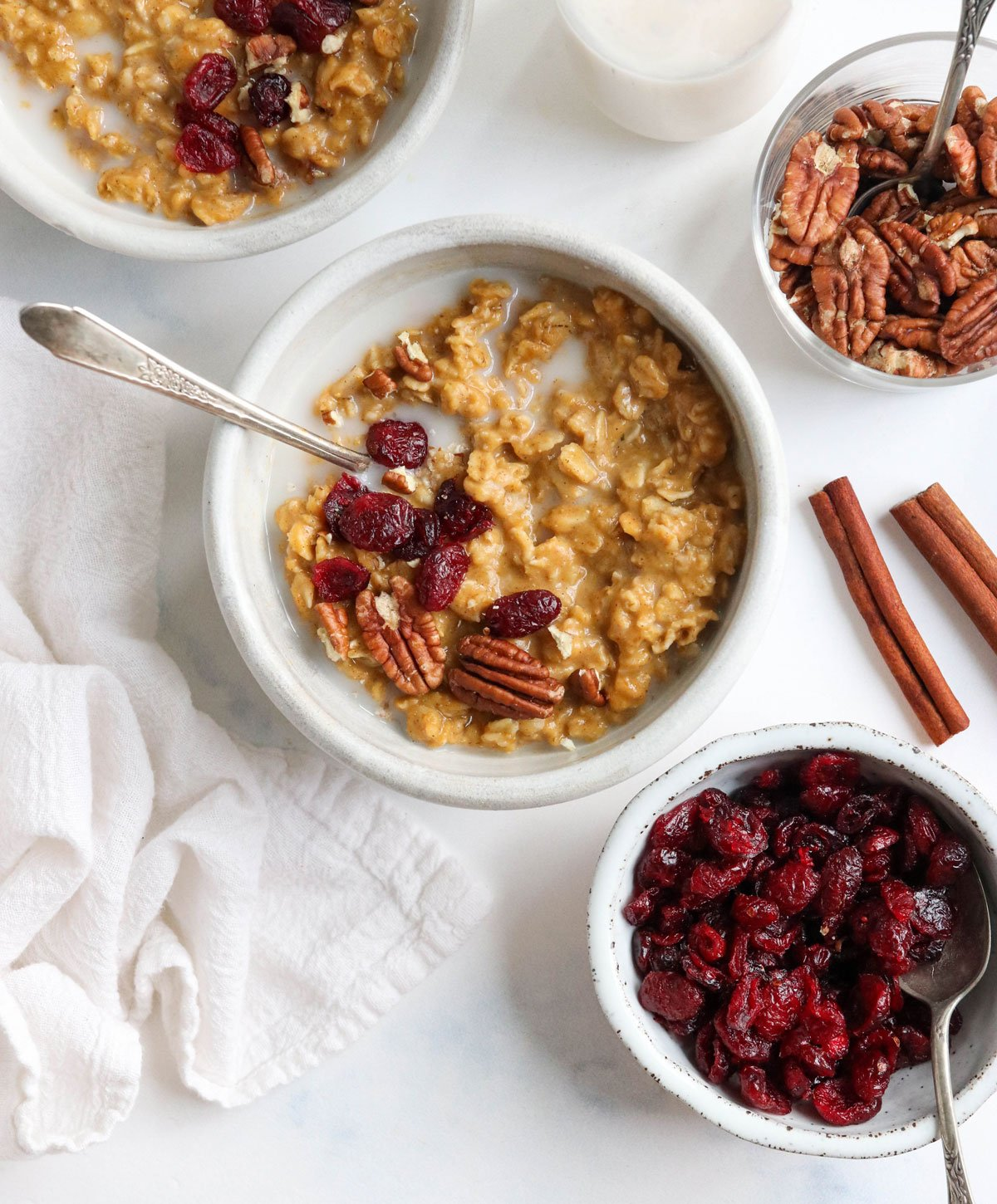 pumpkin oatmeal bowls with dried cranberries