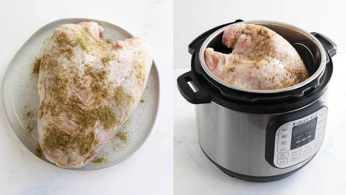 seasoned bone-in turkey in the Instant Pot