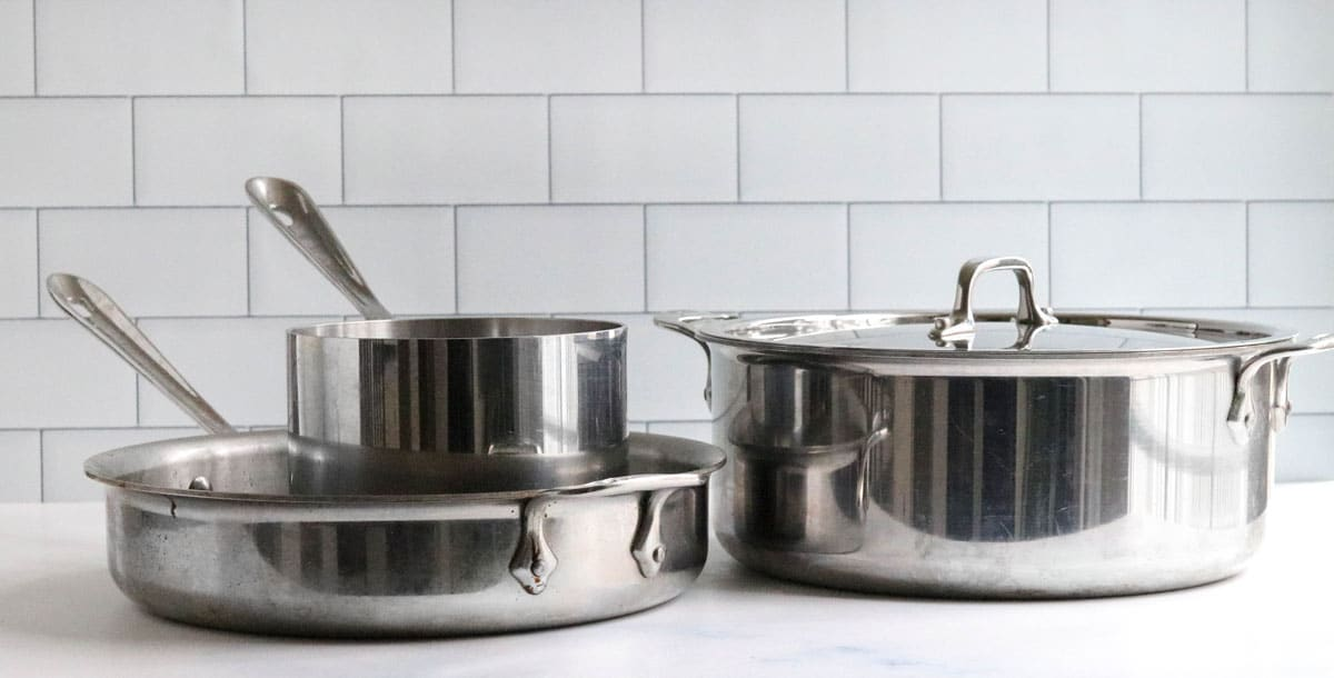 stainless steel pans on counter