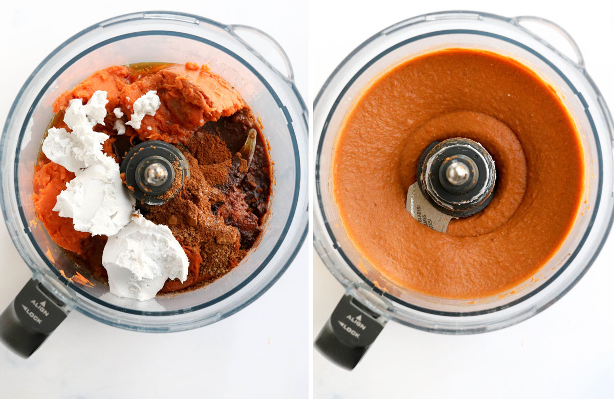 sweet potato pie ingredients in food processor