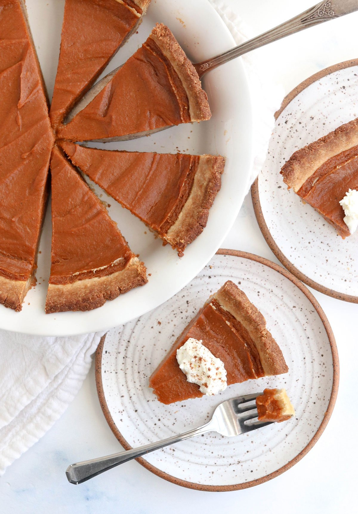 sweet potato pie sliced in pan overhead