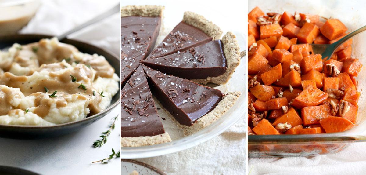 mashed potatoes sweet potatoes and chocolate pie