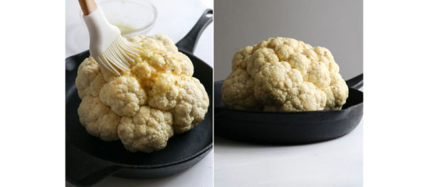 brushing top of cauliflower with oil