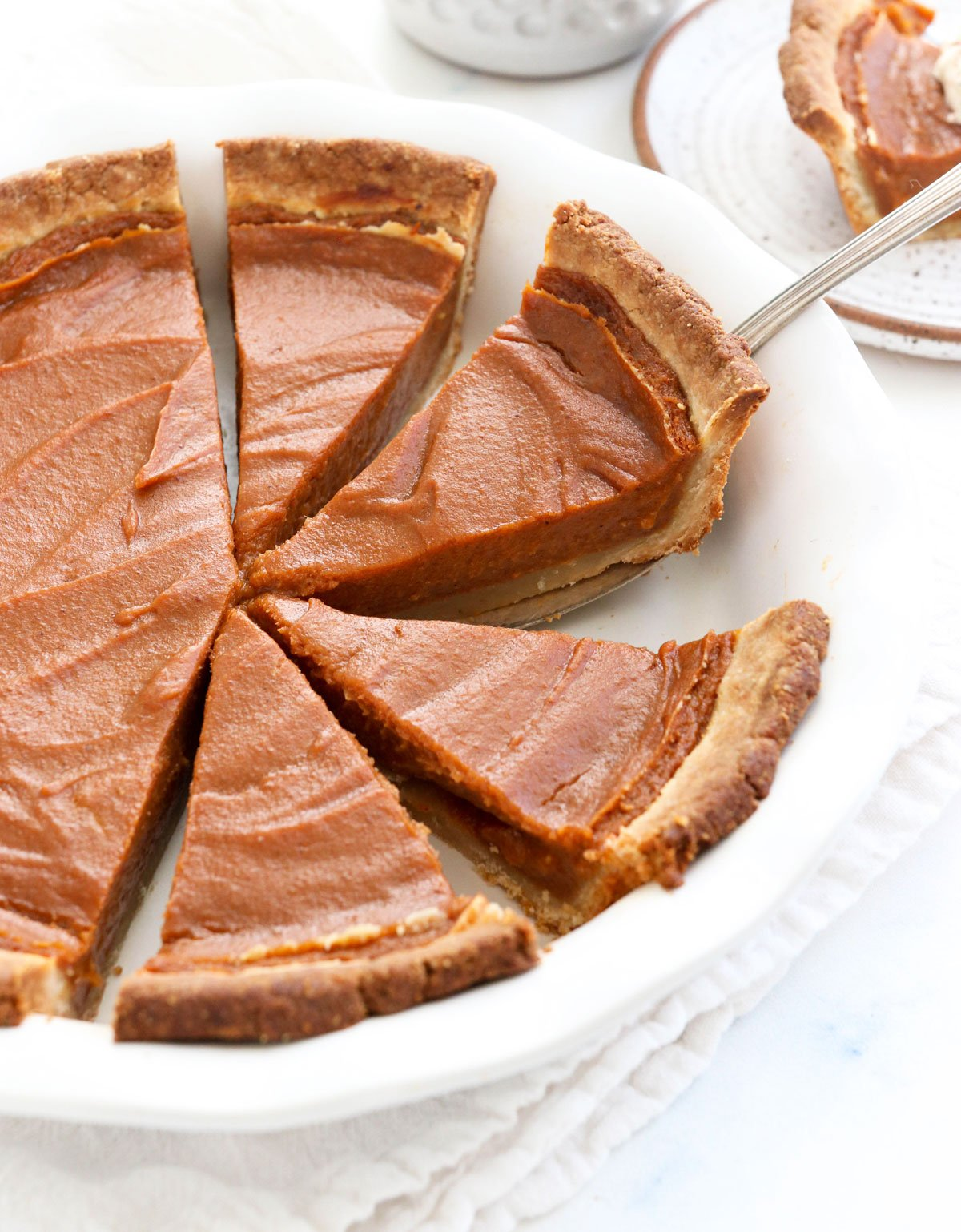 sweet potato pie slices in pan