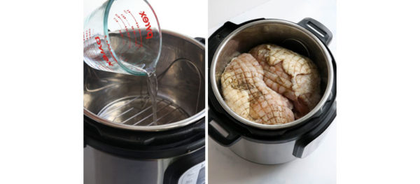 pouring water and turkey in the Instant pot