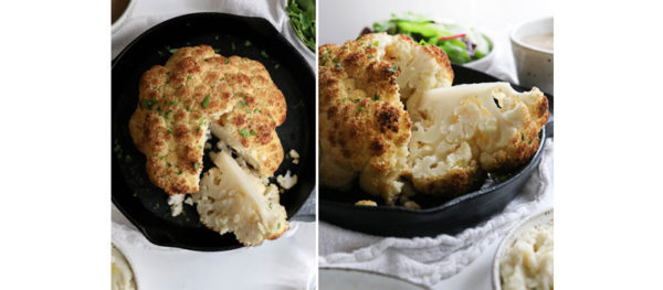 roasted whole cauliflower cut into wedges